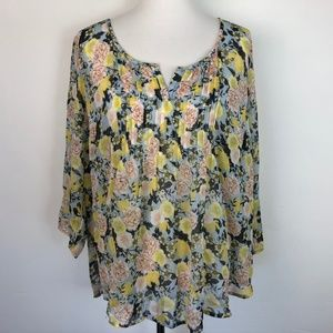 Torrid Size 2 Women's Blouse Sheer Floral Print